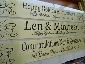 Golden Wedding Anniversary Banner Personalised